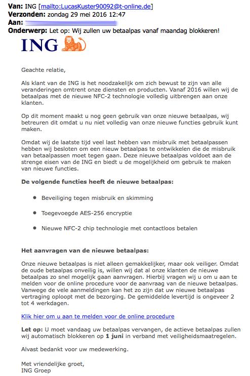 Trap niet in e-mail 'blokkeren betaalpas' uit naam van ING