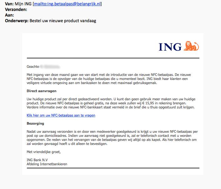 Gepersonaliseerde e-mail verstuurd door 'ING'
