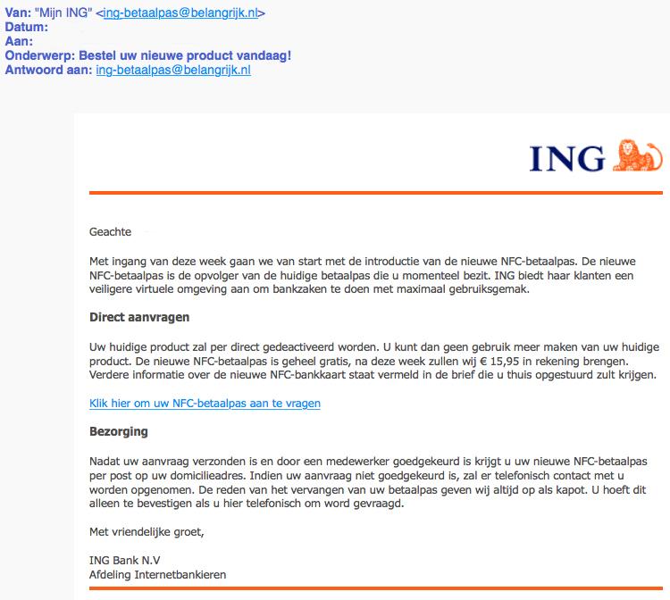 Pas op voor phishingmail 'ING' over nieuw product