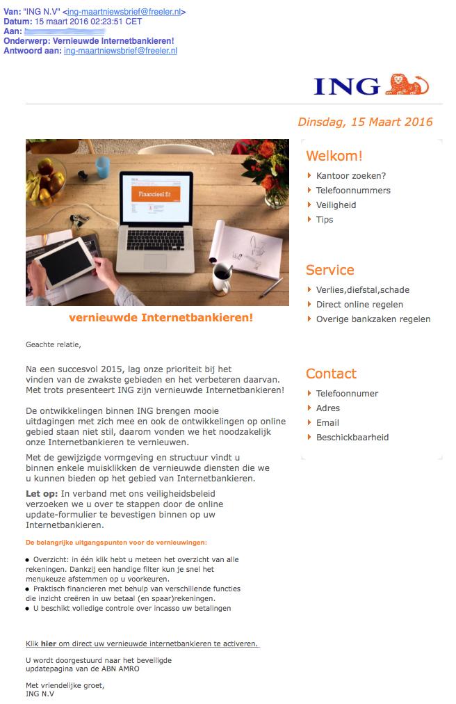 Nepmail uit naam van ING: 'Vernieuwde Internetbankieren!'