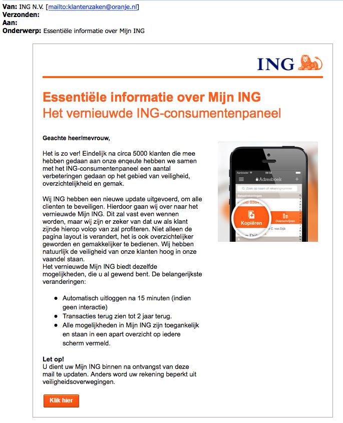 Pas op voor phishingmail 'ING' over vernieuwd consumentenpaneel
