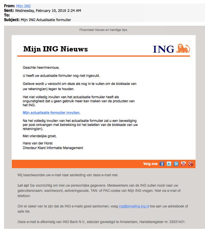 E-mail over actualisatie formulier van 'ING' is nep