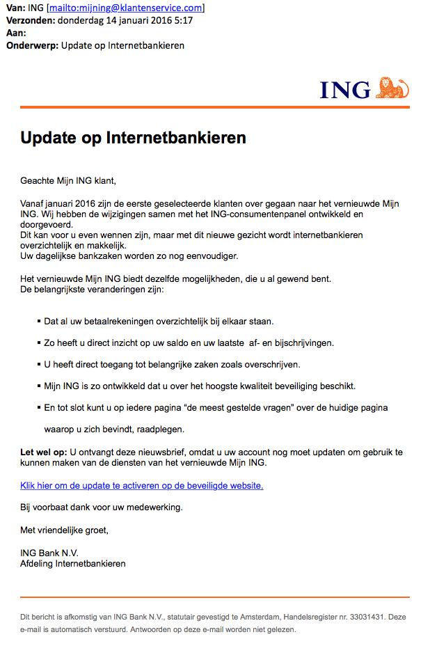 Valse mail ING over update internetbankieren