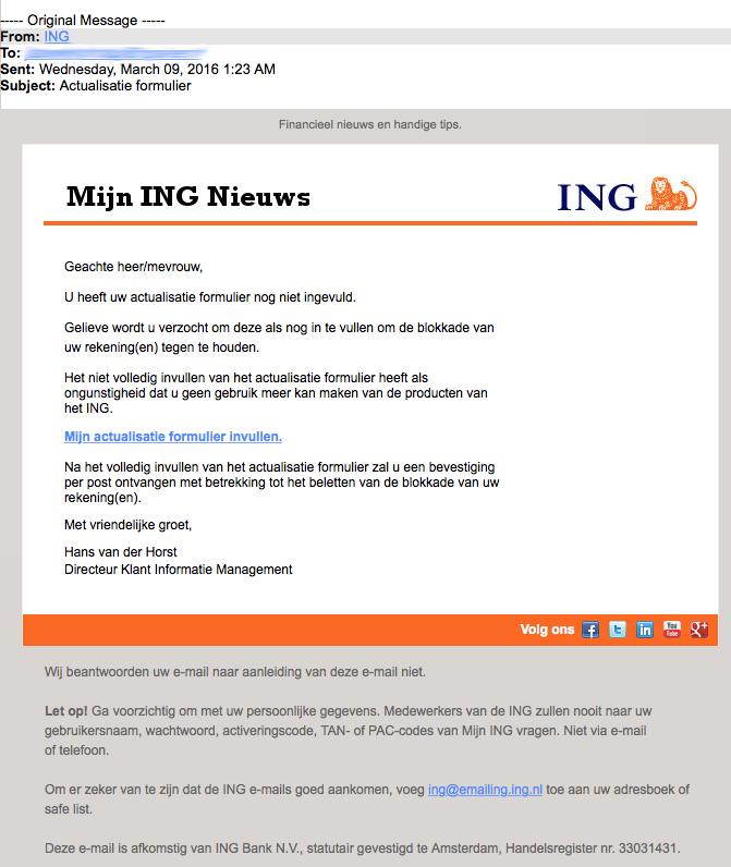 Nepmail 'ING': Actualisatie formulier