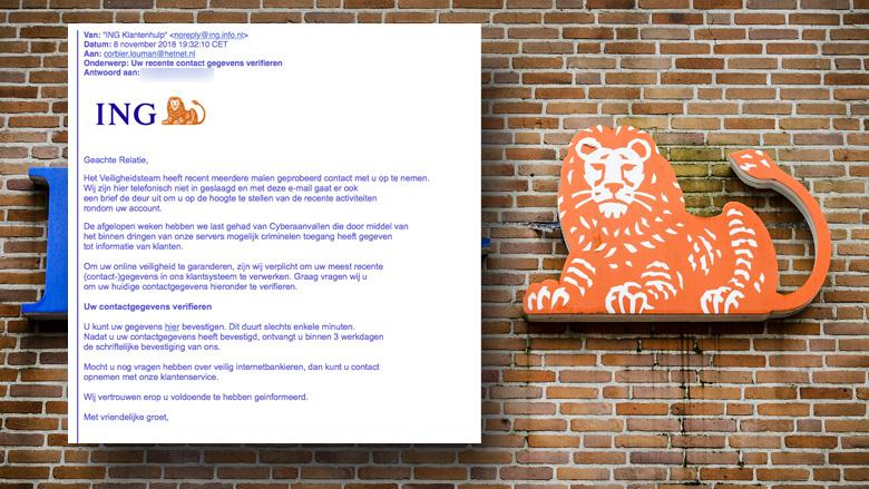 Pas op voor valse mail uit naam van 'Veiligheidsteam' ING