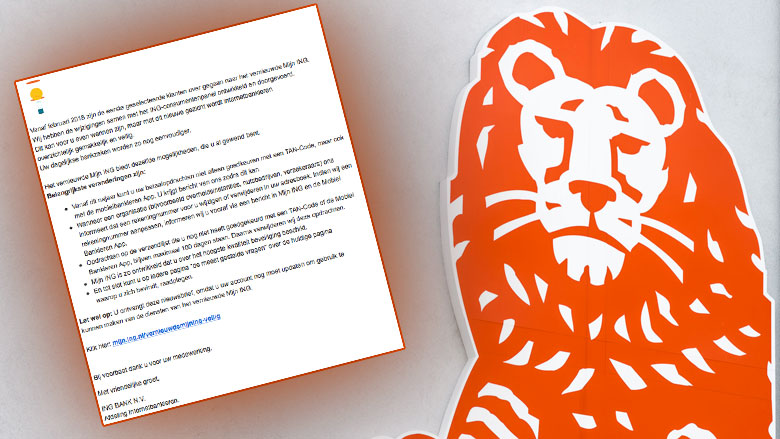 Pas op voor phishingmail 'ING' over vernieuwde diensten