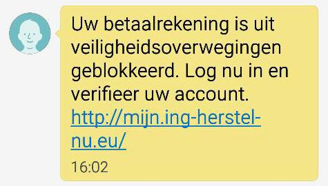 Pas op voor phishing-sms 'ING'