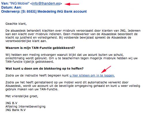Valse mail 'Mededeling ING account' in omloop