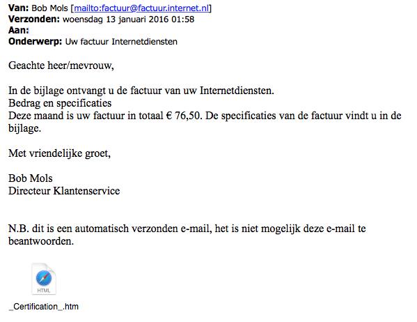 Malware in nepfactuur: 'Internetdiensten'