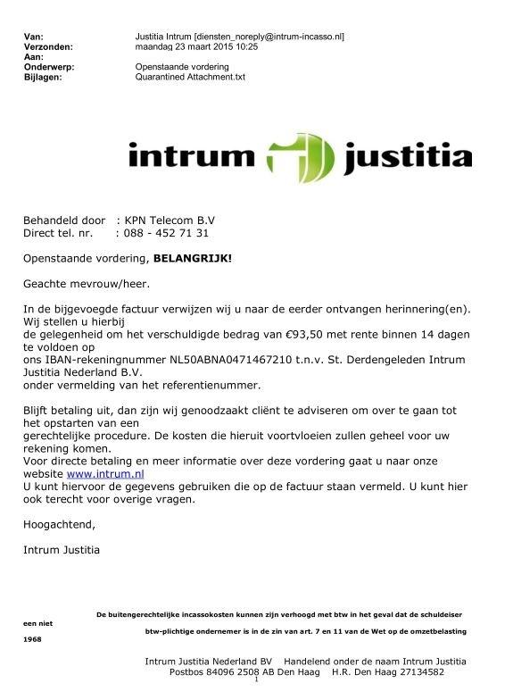 Valse e-mail Intrum Justitia over KPN