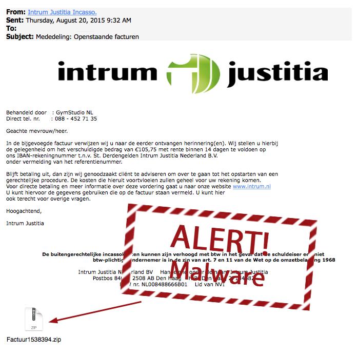 Nieuwe variant nepmail Intrum Justitia