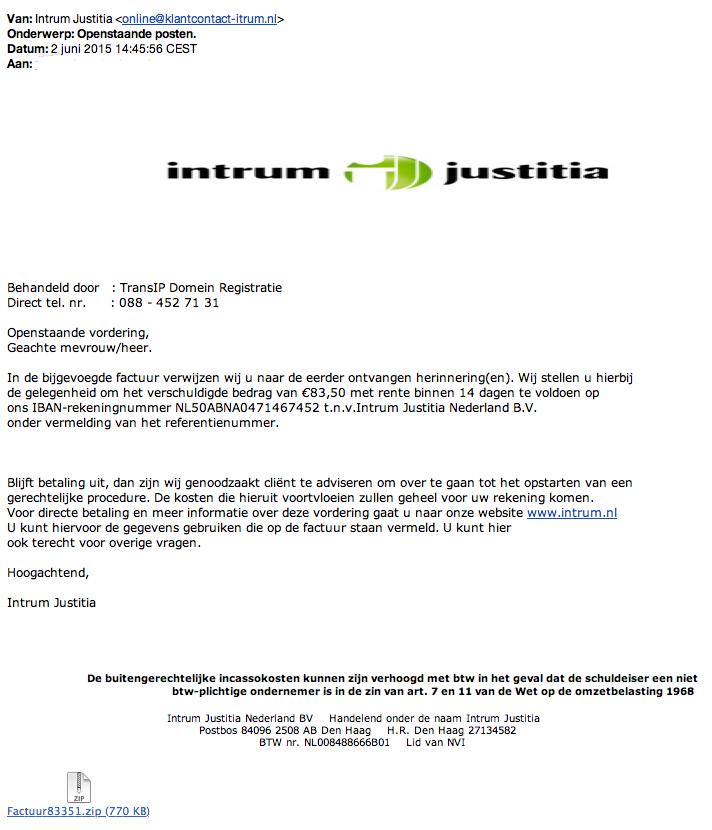 Nepvorderingen Intrum justitia bevatten virus!