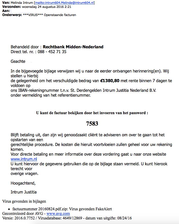 Mail 'Intrum Justitia' bevat malware