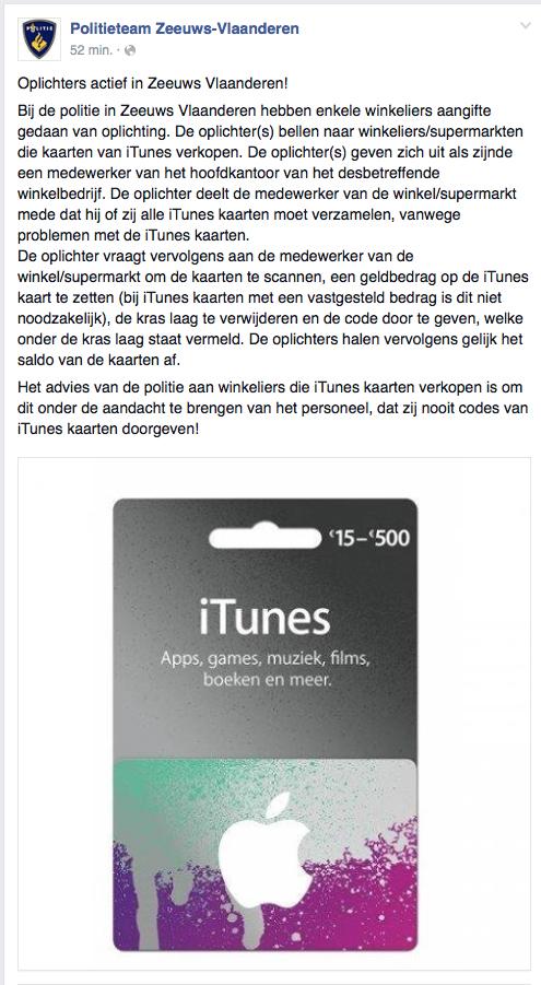 Let op: oplichtingspraktijken iTunes-kaarten