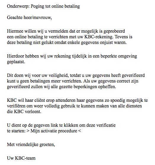 'KBC' stuurt valse e-mail over poging tot online betaling