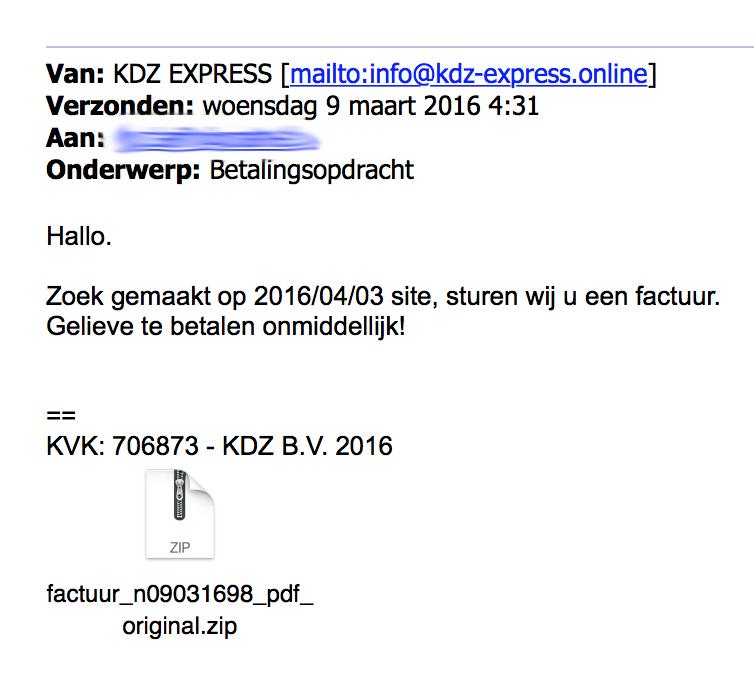 Weer malware in nieuwe e-mail 'KDZ Express'