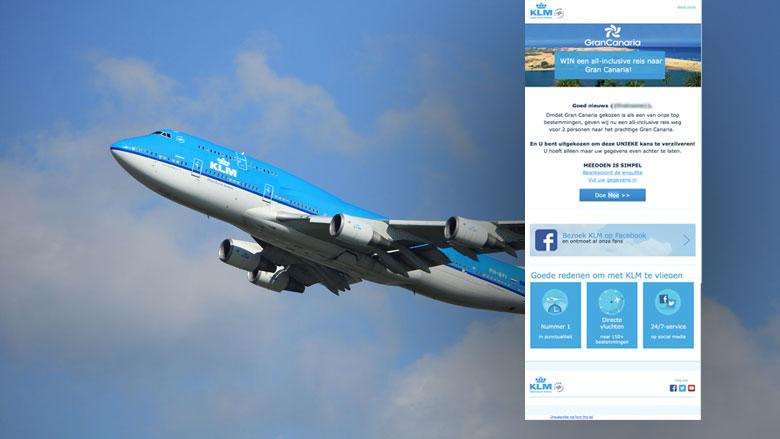 Misleidende mail over gift card 'KLM'