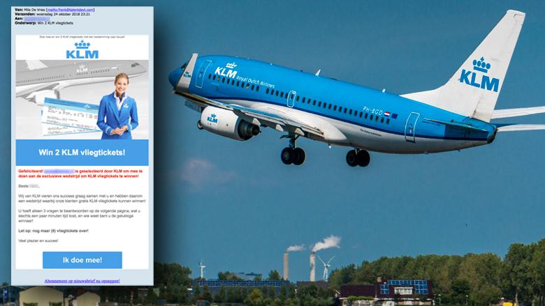 Valse winactie 'KLM' leidt tot een hoop spam