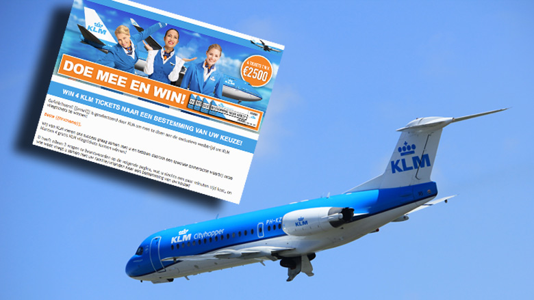 'Win 4 KLM tickets naar een bestemming van uw keuze!' is misleiding