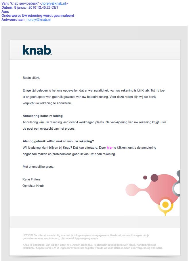 Valse mail 'Knab' is phishing
