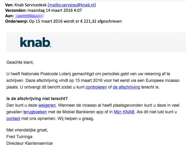 Pas op: phishingmail 'Knab'