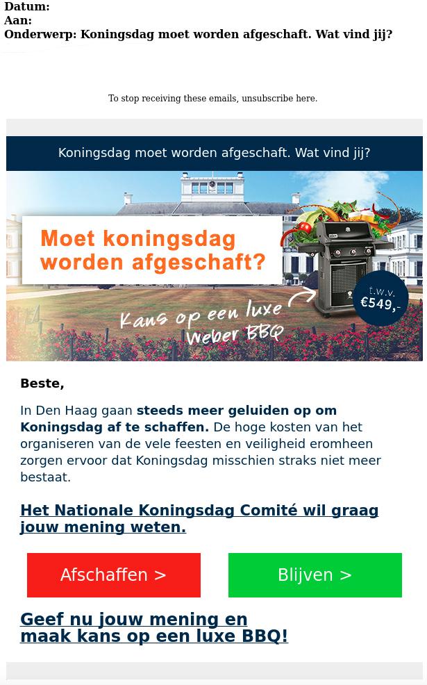 Afzender 'enquête Koningsdag' wil je gegevens