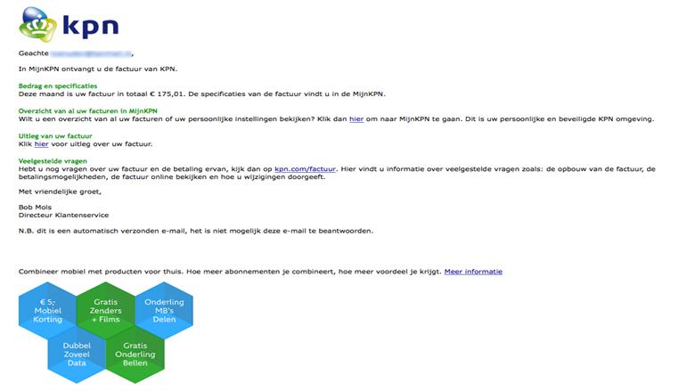 E-mail ontvangen van 'KPN'? Pas goed op dat het geen phishingmail is