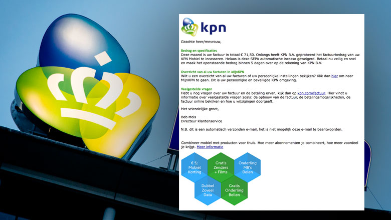 Valse e-mail 'KPN' over openstaande factuur