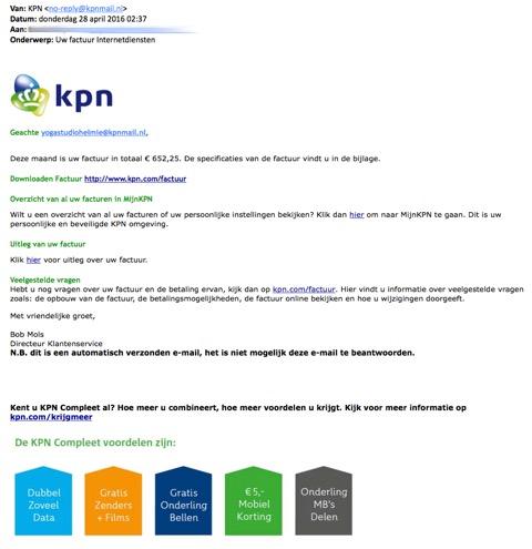 Opnieuw valse mail 'KPN' in omloop