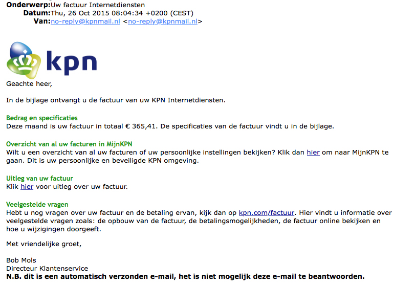 Malware in nepfactuur KPN