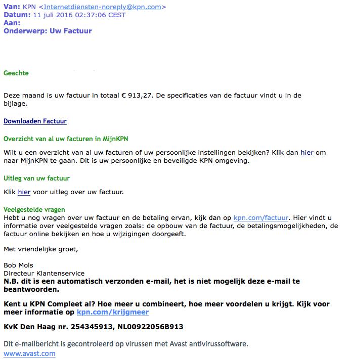 'Factuur' KPN bevat malware