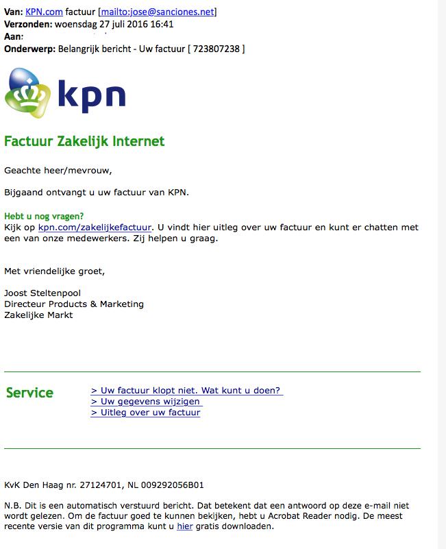 Veel meldingen valse facturen KPN