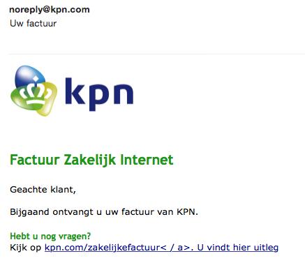 Veel meldingen malware-mails 'KPN'