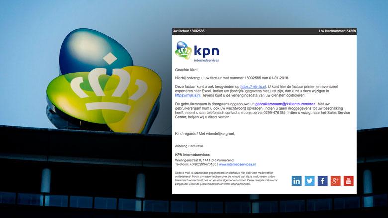 Pas op voor phishingmail 'KPN' over factuur