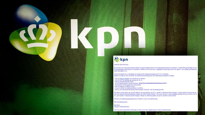 Pas op voor e-mail 'KPN' over betalingsachterstand