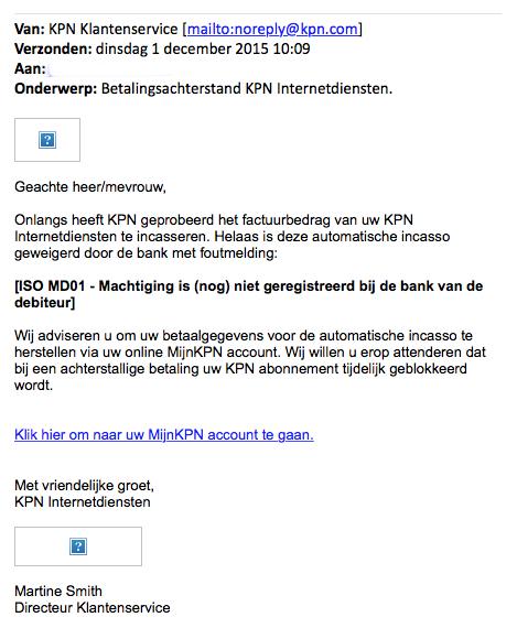 Nepmails 'KPN' over betalingsachterstand
