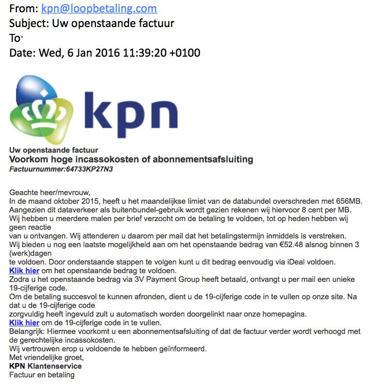 Valse mail 'KPN' over openstaande factuur