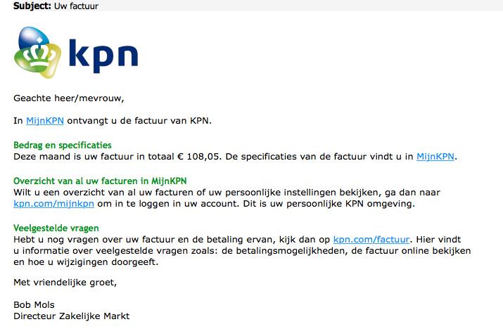 Waarschuwing voor phishingmail 'KPN'