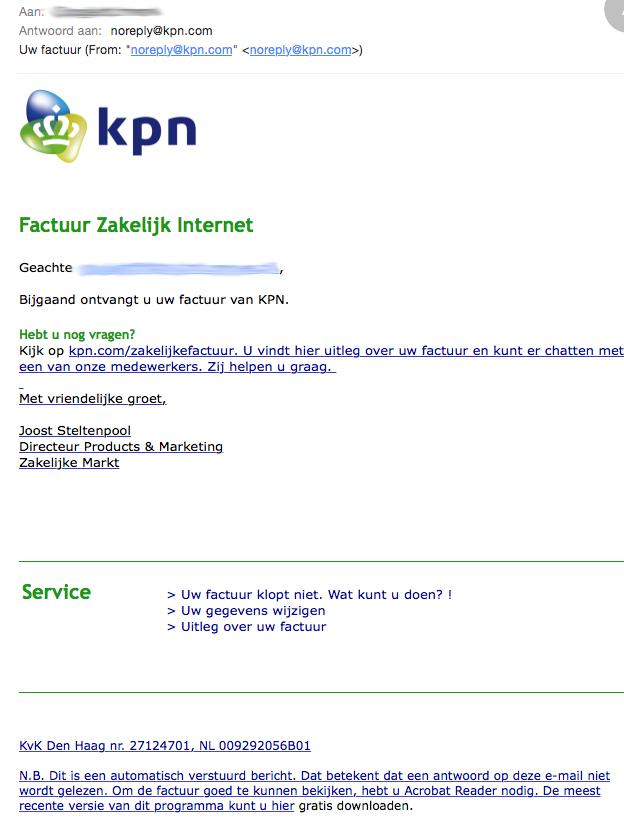 'Factuur Zakelijk Internet' bevat virus