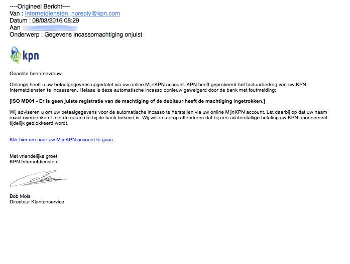 Opnieuw valse e-mail uit naam van KPN