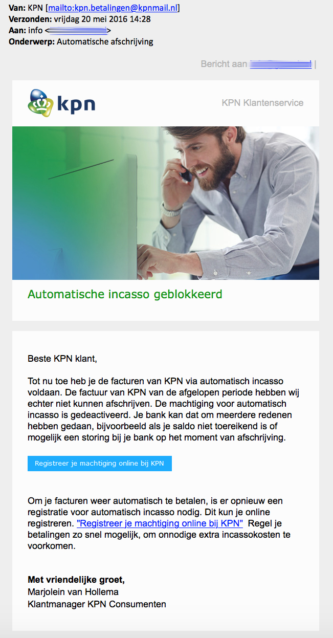E-mail automatische afschrijving 'KPN' is nep