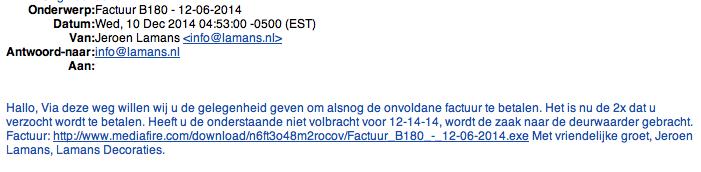 E-mail 'Lamans Decoraties' bevat malware!
