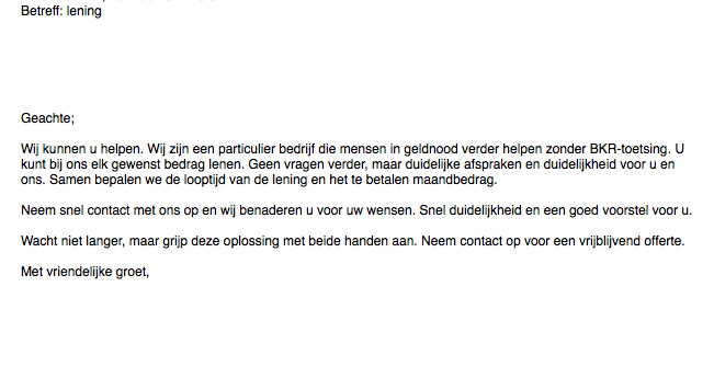 Reageer niet op valse e-mail lening