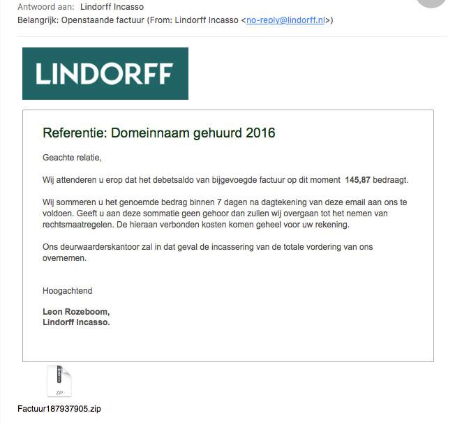 Malware in e-mail 'Lindorff Incasso'
