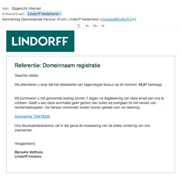Mail 'Lindorff' bevat malware