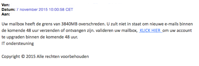 Valse mail over volle mailbox