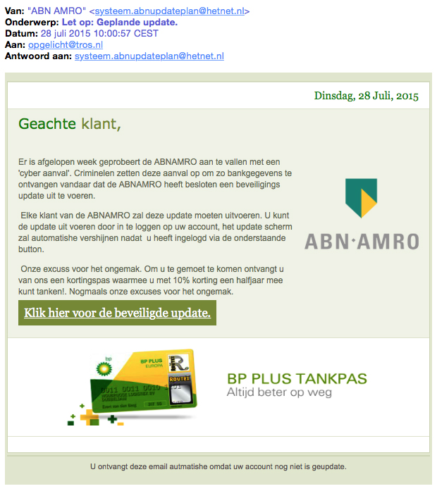 Valse mail ABN AMRO: 'Geplande update'