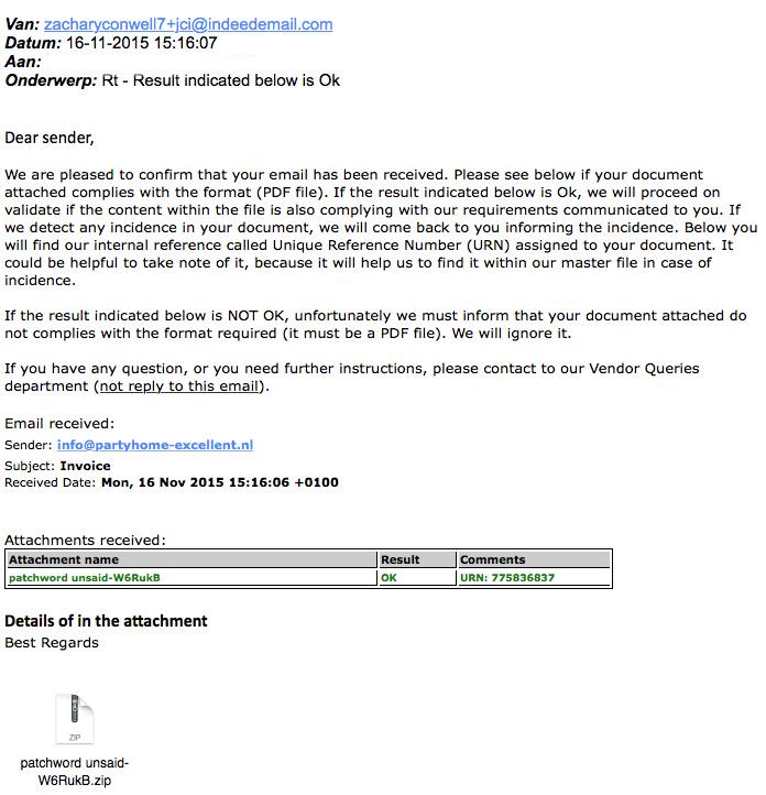 Pas op voor mail die malware bevat