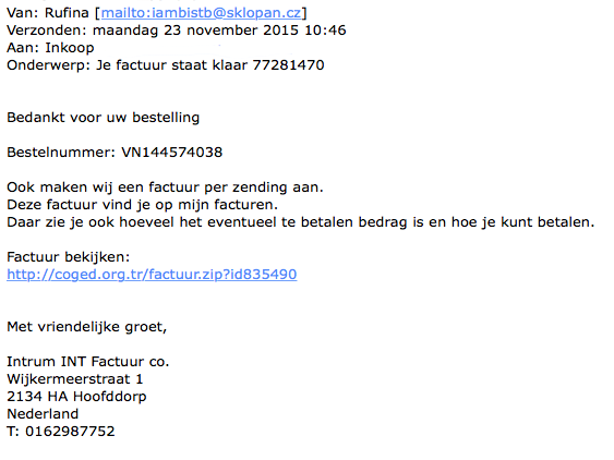 Mail 'Intrum INT Factuur co' bevat malware
