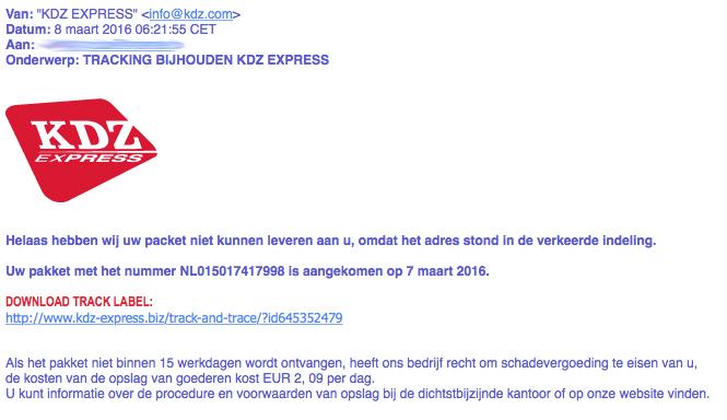 Nepmail 'KDZ Express' bevat malware